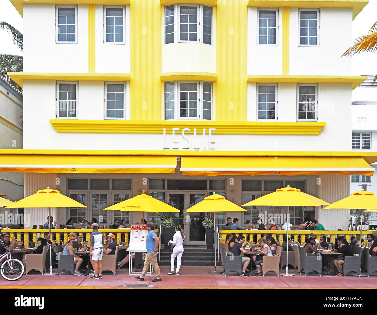 Leslie Hotel in Art Deco District of South Miami Beach (SoBe). - Stock Image
