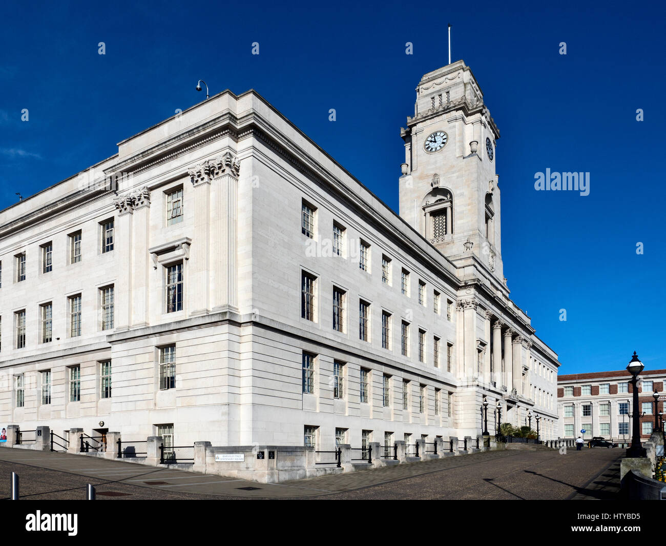 The Portland Stone Town Hall Building at Barnsley South Yorkshire England - Stock Image