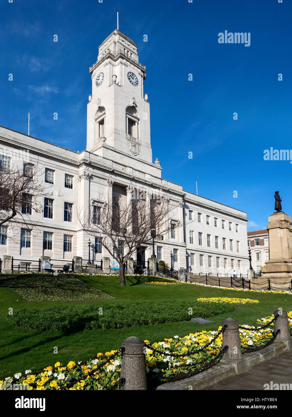The Portland Stone Town Hall Buidling at Barnsley in Spring South Yorkshire England - Stock Image