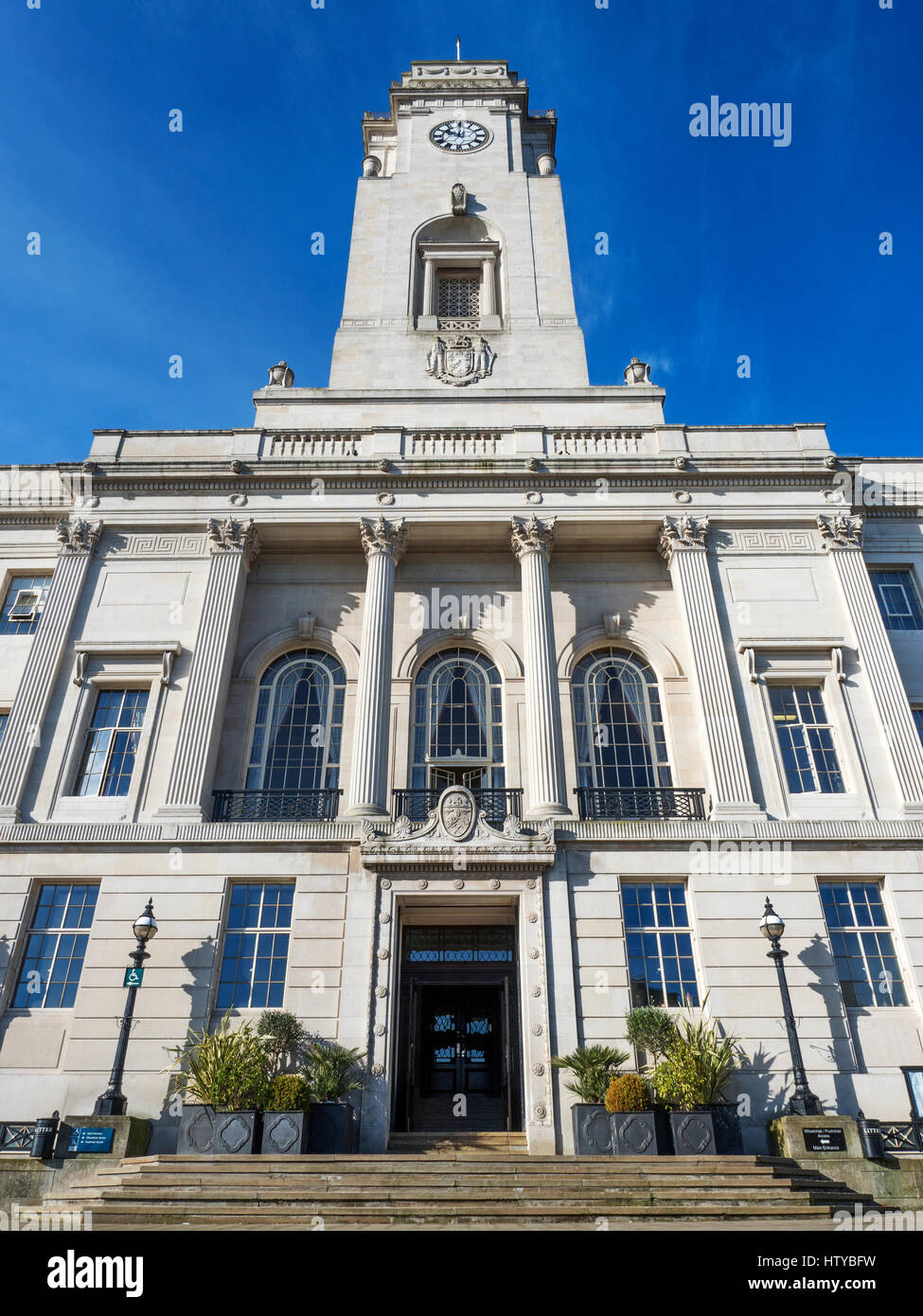 Neoclassical Columns at the Town Hall Building in Barnsley South Yorkshire England - Stock Image
