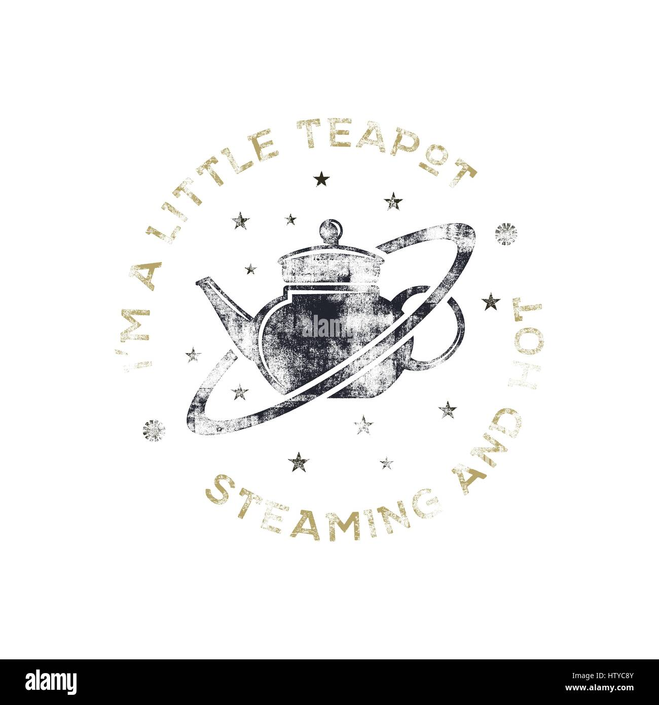 Vintage science poster and background with Russell's teapot and typography elements. Science background theme. - Stock Image
