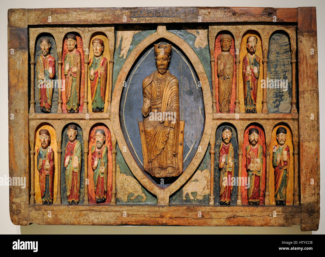 Altar frontal from Santa Maria in Taull., ca.1200. Anonymous. Repainted in 1579. From the parish church of Santa - Stock Image