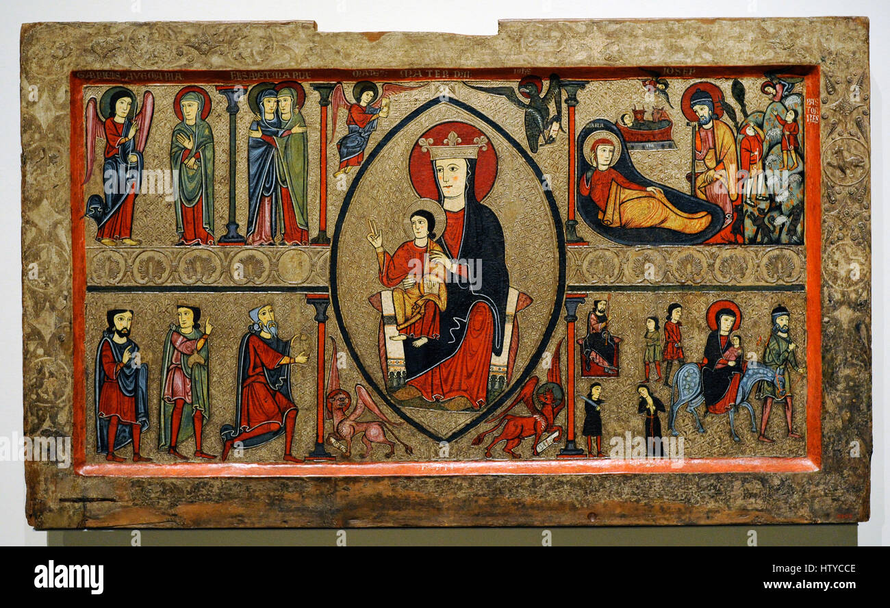 Iohannes. Ribagorza workshop. Altar frontal from Cardet, 2nd half of 13th century. From the parish church of Santa - Stock Image