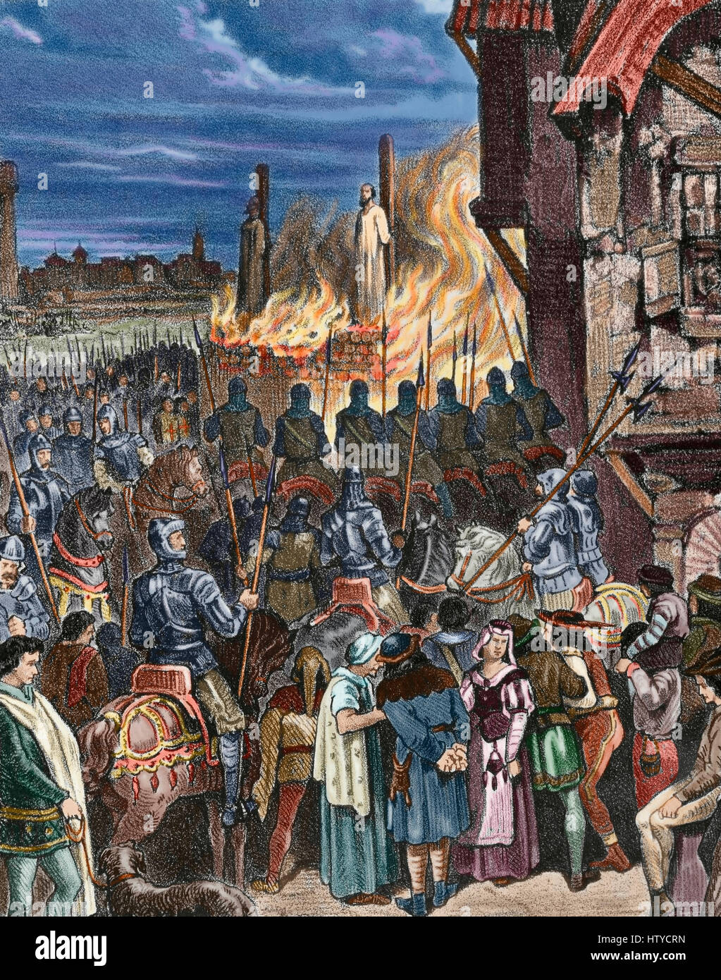 Burning of the Templars in France. Paris. Jacques de Molay (c.1240-1244-1314), Grand Master of the Order of the - Stock Image