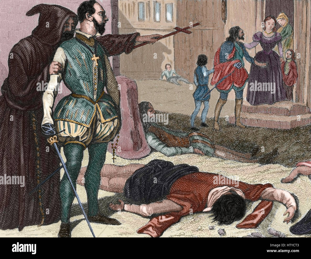 France. French Wars of Religion. St. Batholomew's Day massacre, 1572. Assassinations of Catholic violence against the Huguenots, the French Calvinist Protestants. Engraving. 19th century. Colored. Stock Photo