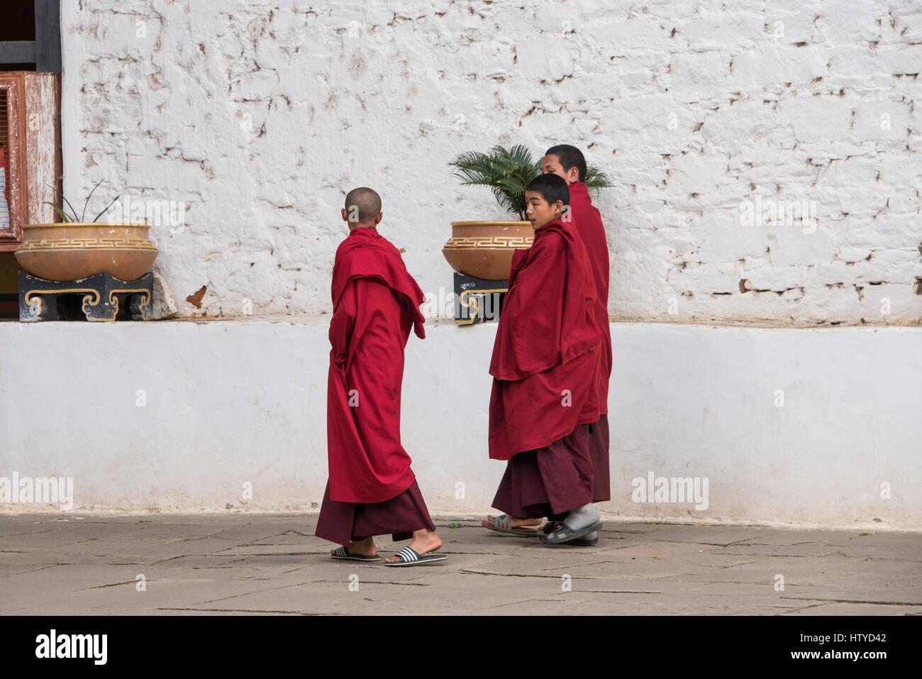 Bhutan, Paro, Rinpung Dzong. Novice monks at 15th century Buddhist monastery and fortress. Tentative List for UNESCO Stock Photo