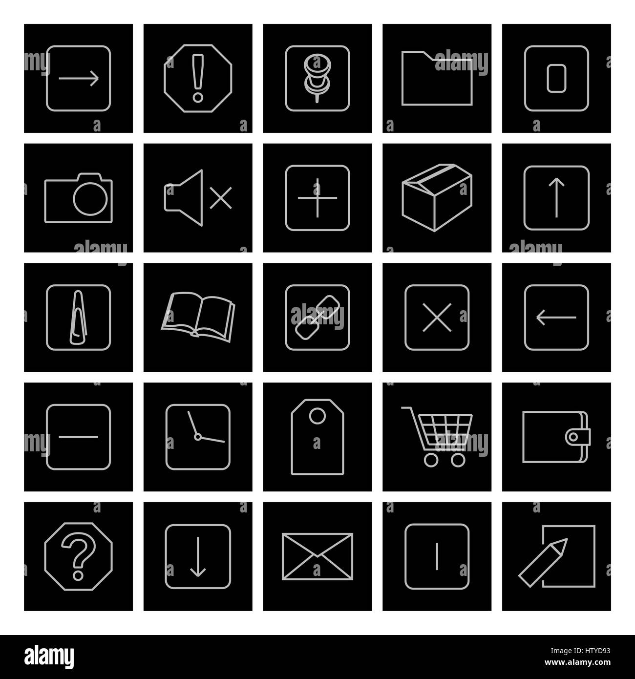 A set of twenty-five of universal web icons of thin lines, vector illustration. - Stock Vector