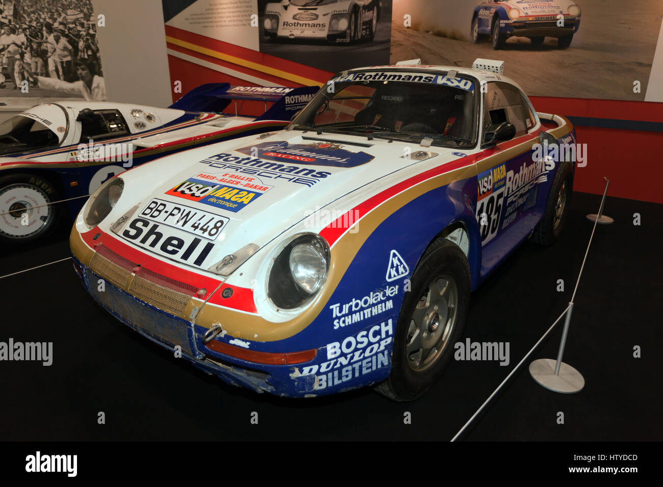 The Porsche 959, rally car, driven  to 2nd place, in the 1986 Paris-Dakar Rally, In the Jacky Ickx Icon Collection - Stock Image
