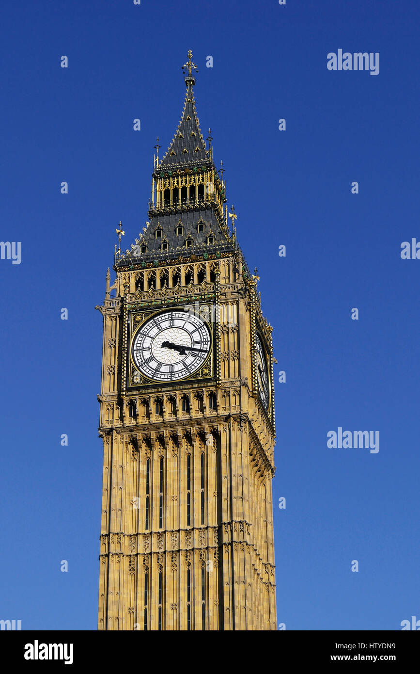 The famous Big Ben clock tower at Westminster Palace in London, England. The tower is now officially called the Stock Photo