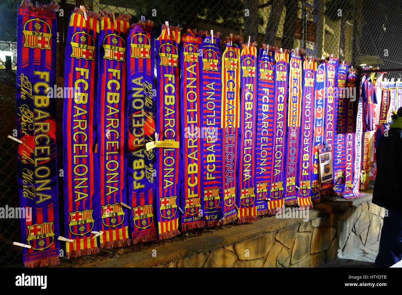 FC Barcelona Soccer Scarves. - Stock Image