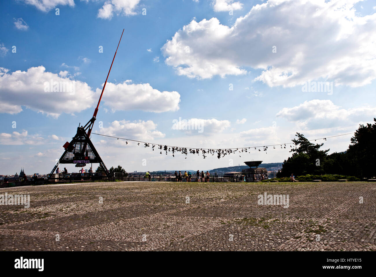 Prague Metronome in the Letna Park and was designed by Vratislav Novak, Czech Republic. - Stock Image