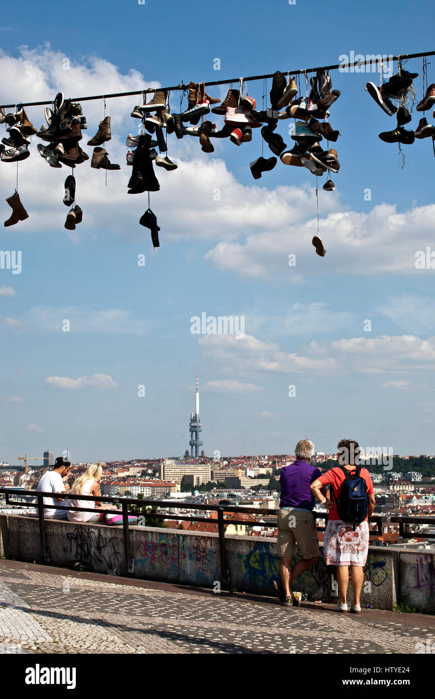 Shoe tossing at Prague Metronome in the Letna Park, Czech Republic. Stock Photo
