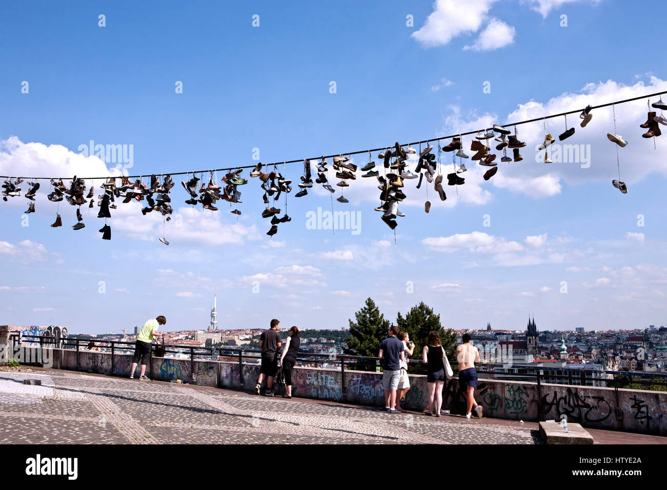 Shoe Tossing at the Prague Metronome in the Letna Park, Czech Republic. - Stock Image