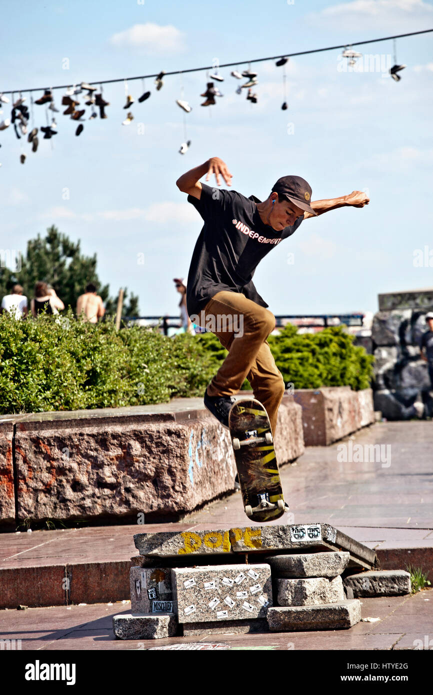 A guy is skateboarding at the Prague Metronome in the Letna Park, Czech Republic. Stock Photo