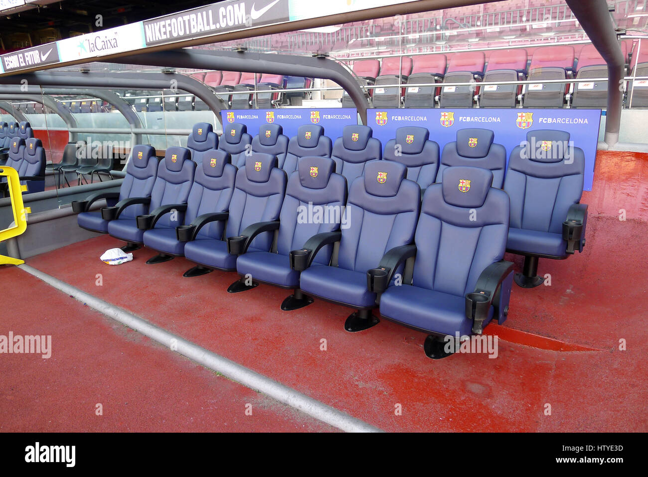 Substitute Bench in Camp Nou, which is a football stadium in Barcelona, Spain. It is also the home of Futbold Club - Stock Image