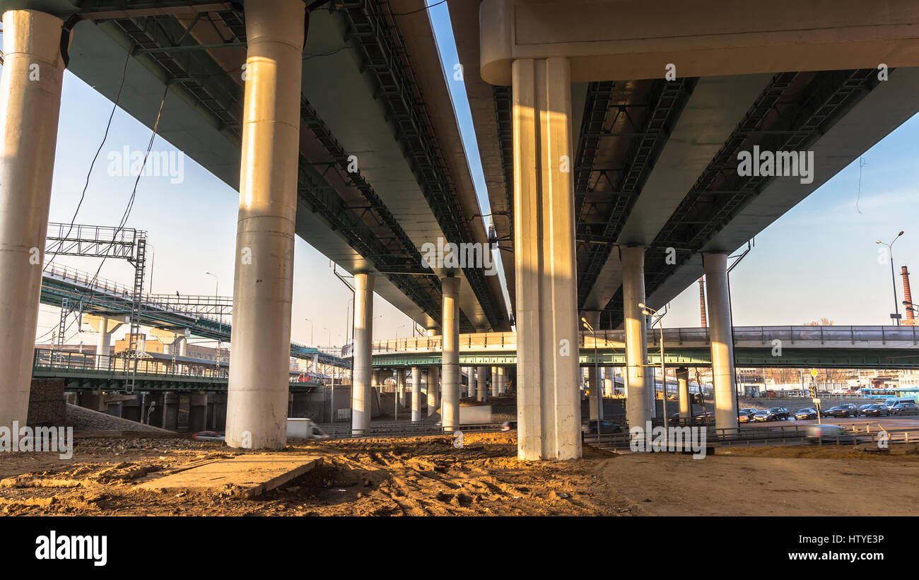 Intersection of modern overpasses - Stock Image