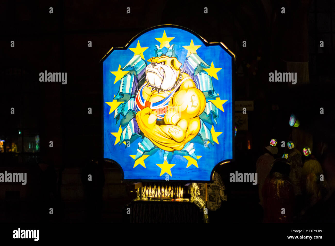 Basel carnival 2017. Colorful illuminated single main lantern with the british brexit topic on monday morning in - Stock Image