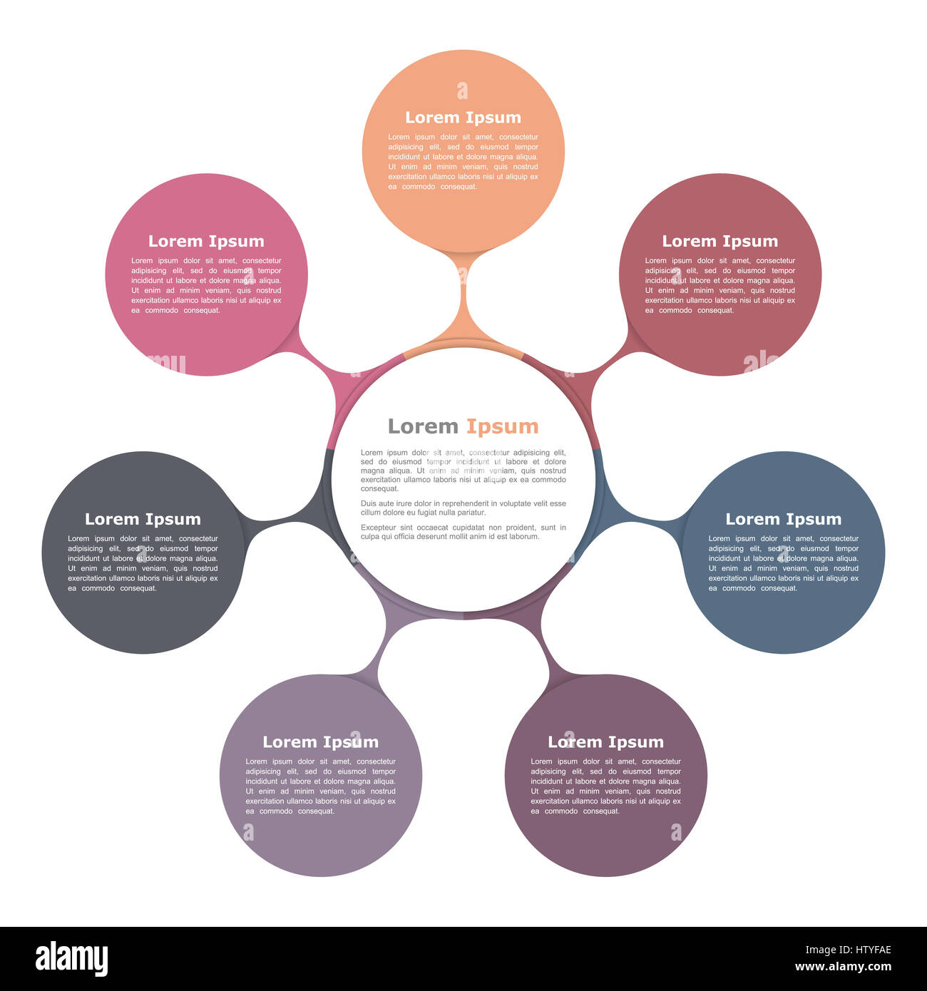Circle Flow Chart With Seven Elements Infographic Template Stock