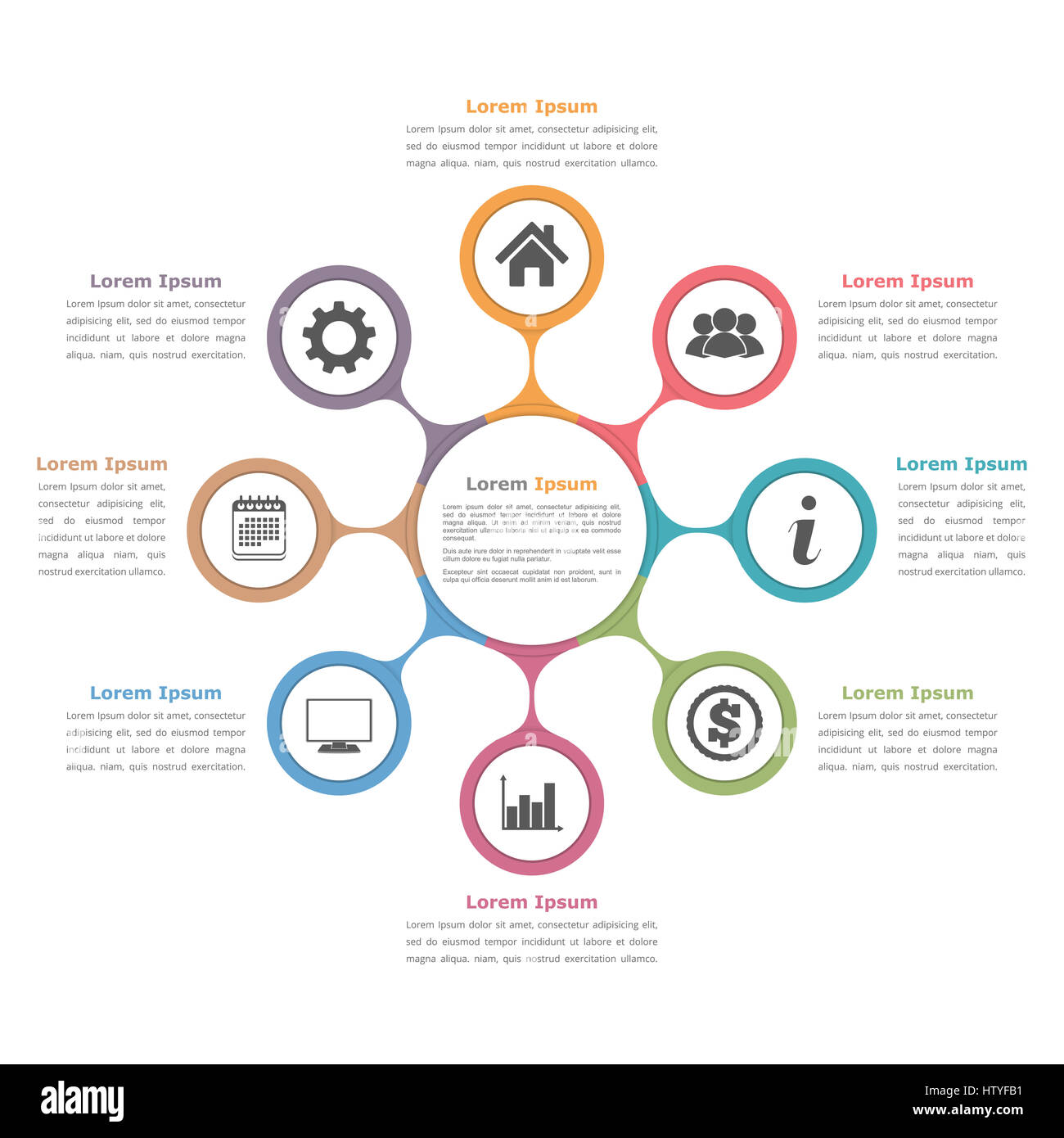 Circle diagram with eight elements with icons and text flow chart circle diagram with eight elements with icons and text flow chart template business infographics ccuart Gallery