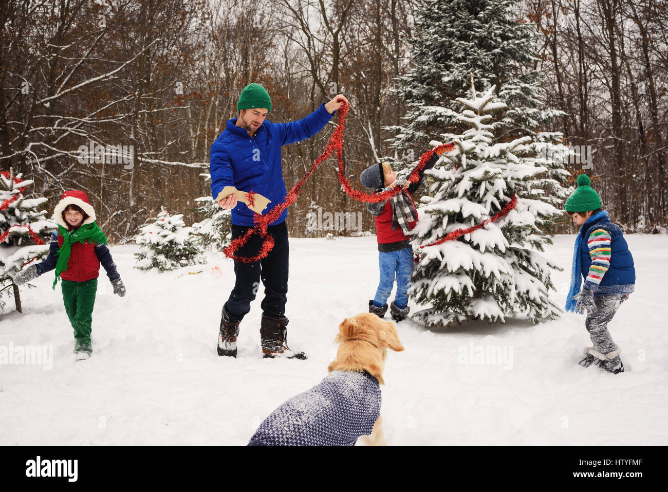 Father and three children decorating a Christmas tree in the garden with golden retriever dog watching - Stock Image
