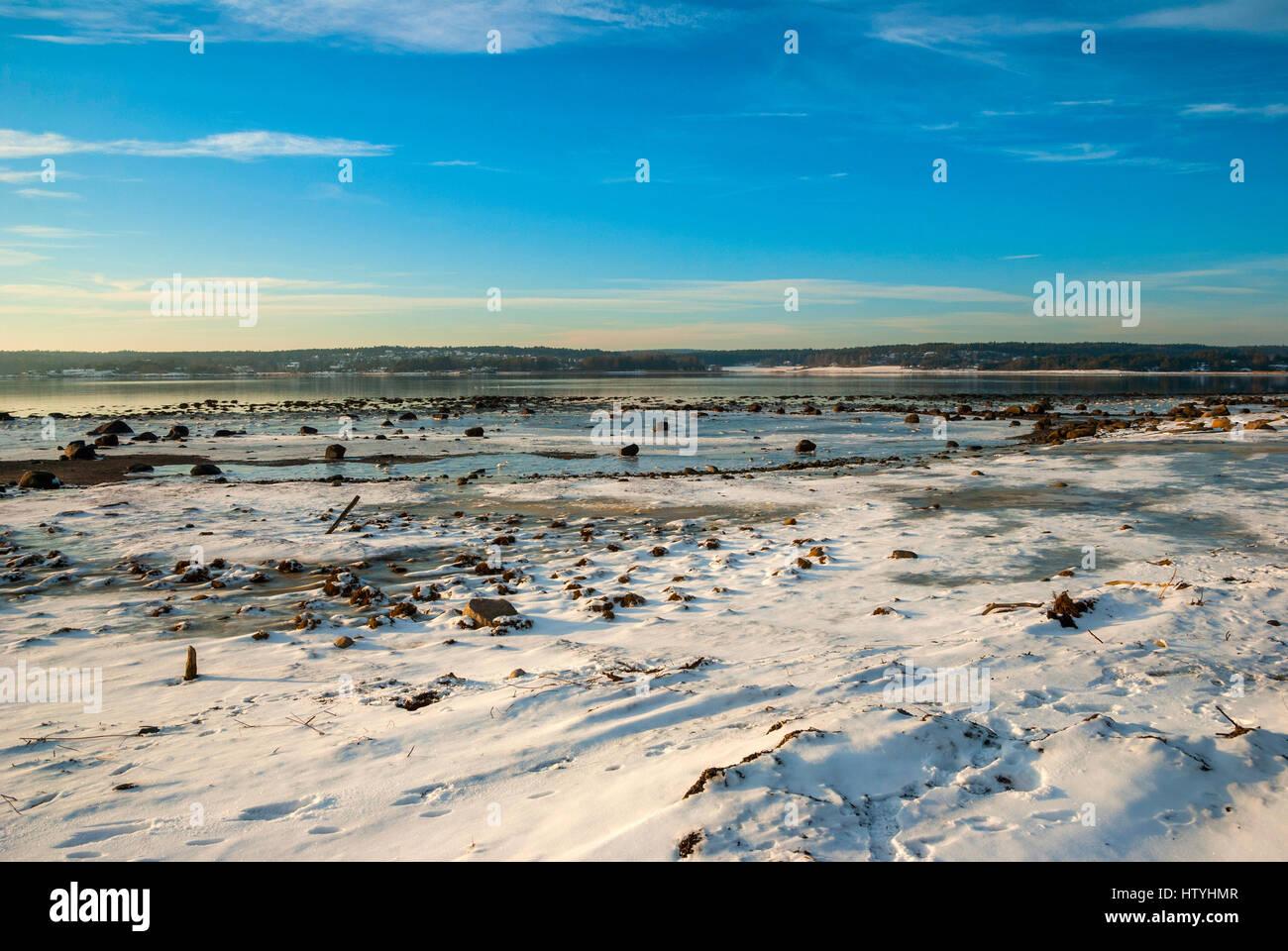 Frozen fjord in scandianvian winter, Norway - Stock Image