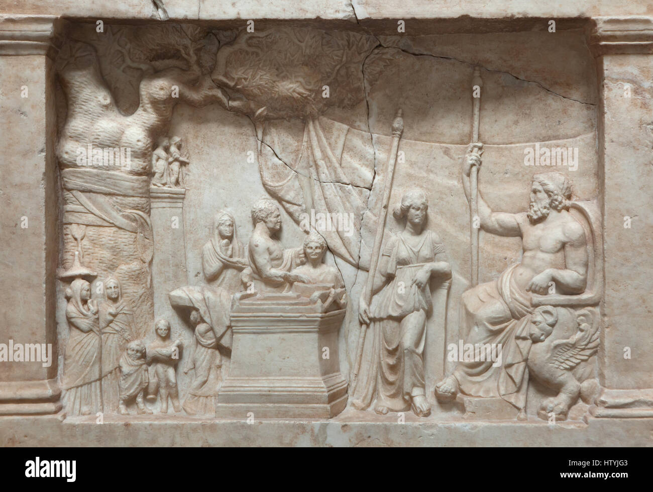 Munich Votive Relief. Greek votive relief from about 220 BC on display in the Glyptothek Museum in Munich, Bavaria, - Stock Image