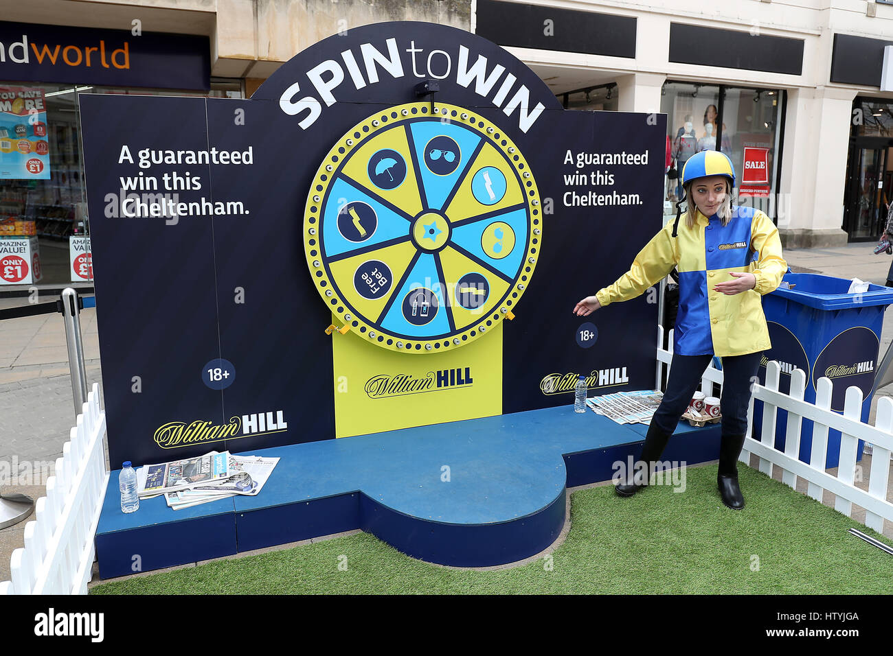 A promotional girl with the William Hill branded Spin to win game