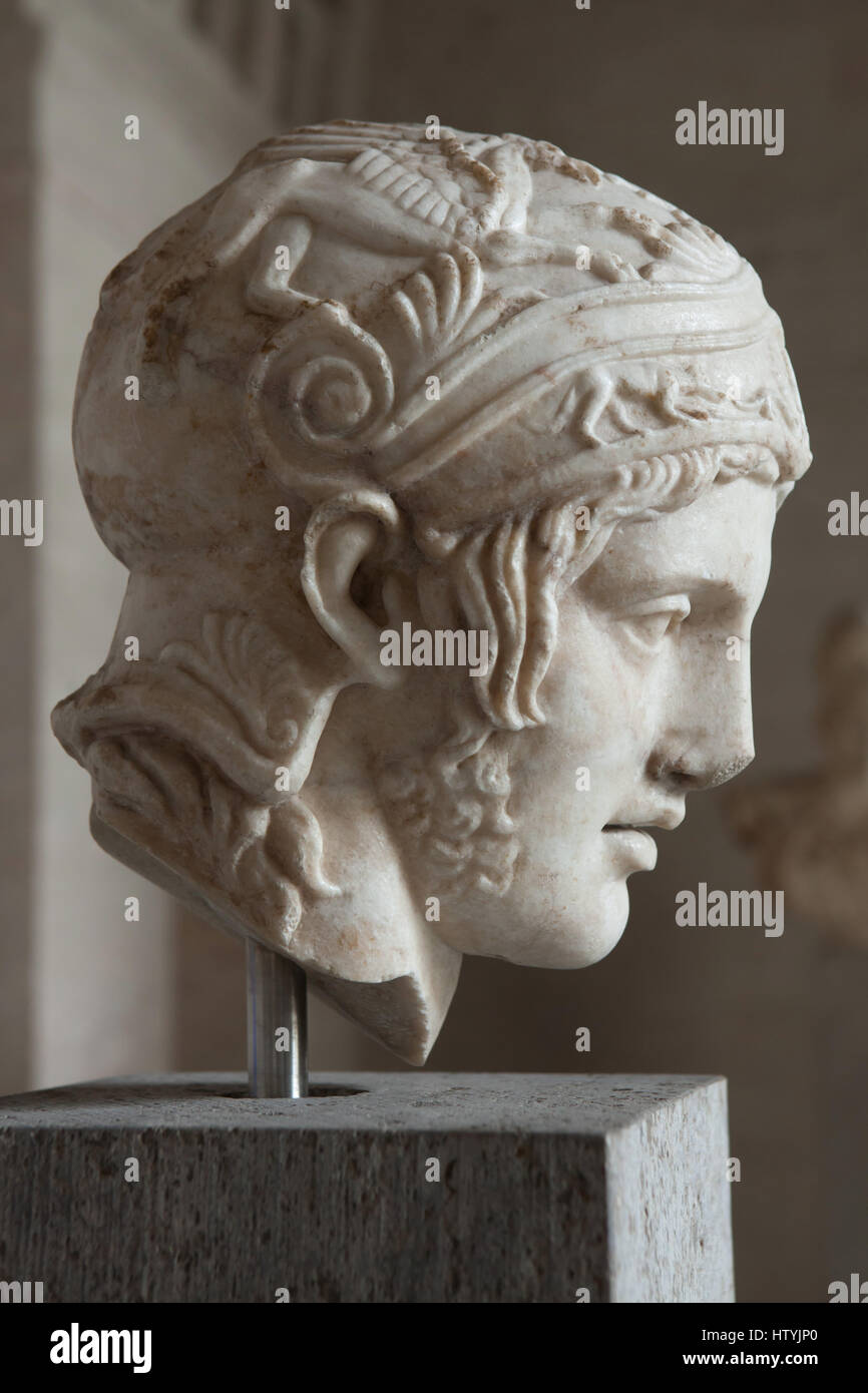 Head from a statue of the god of war Ares. Roman copy from 150-160 ...
