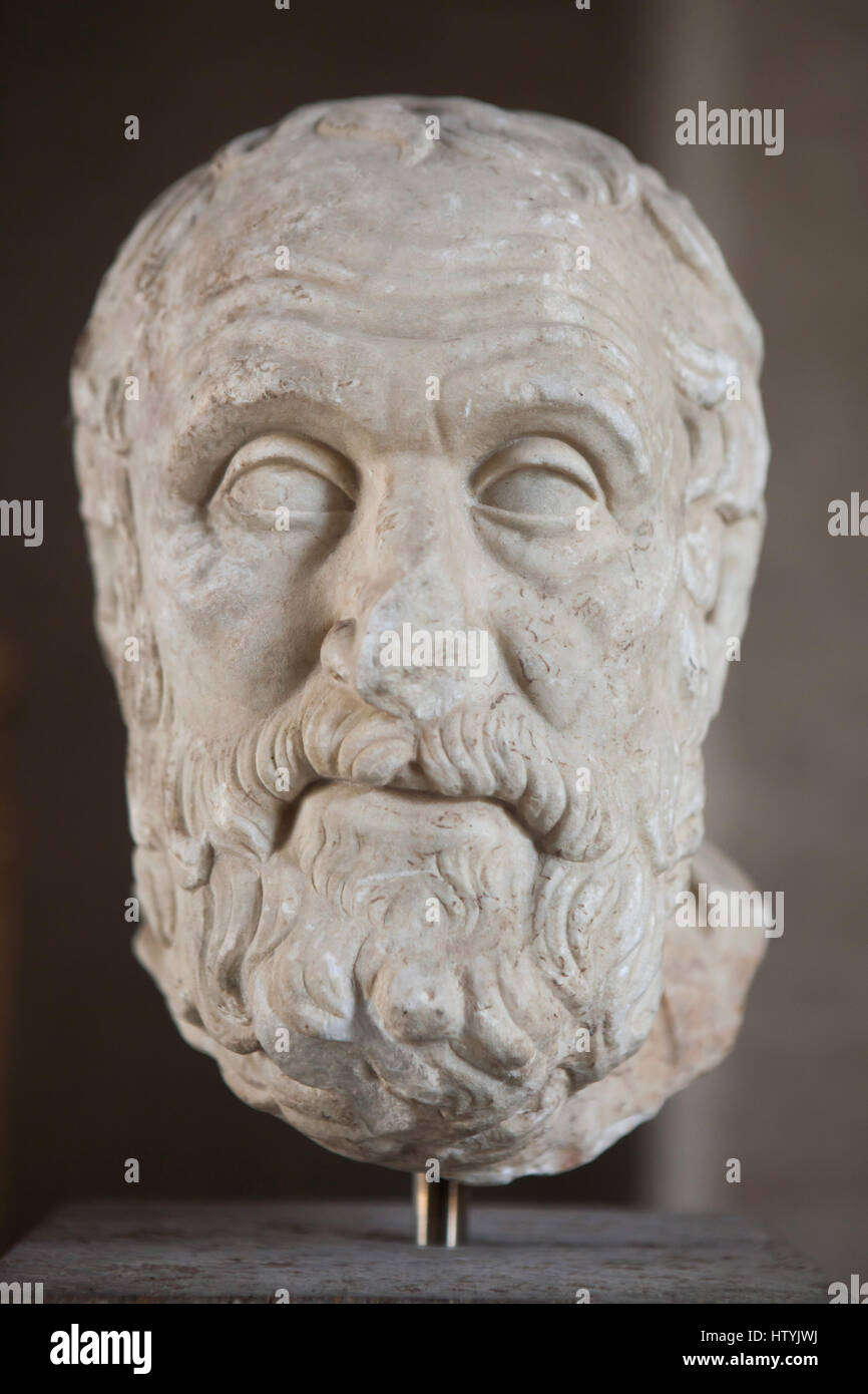 Greek philosopher Carneades (215-129 BC). Roman marble copy after a Greek original from about 150 BC on display - Stock Image