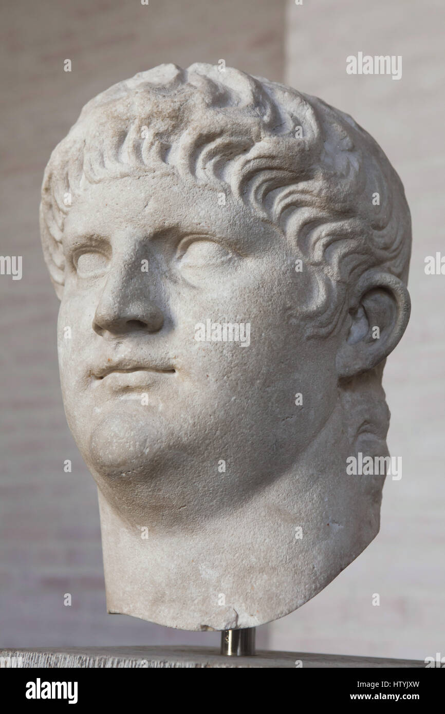 Head from the colossal statue of Roman Emperor Nero (reign 54-68 AD) on display in the Glyptothek Museum in Munich, - Stock Image