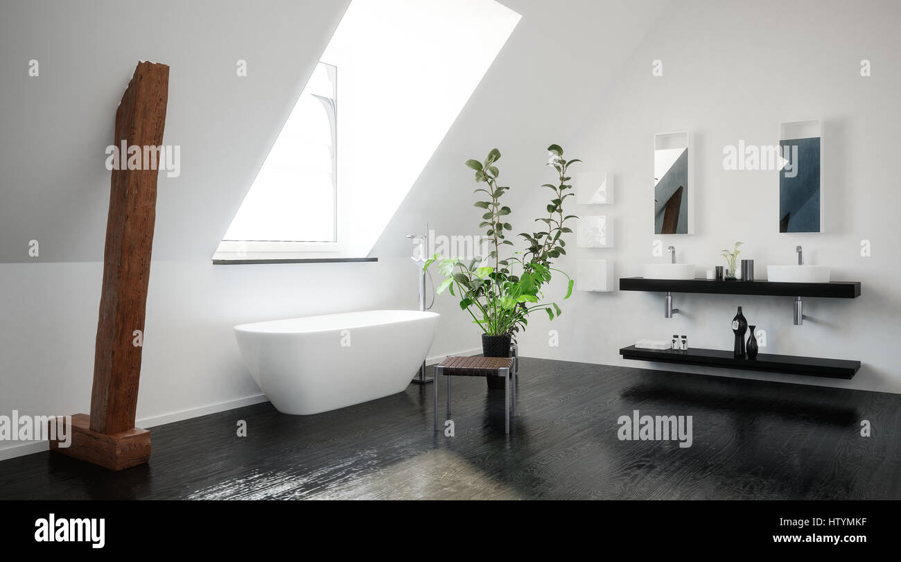 Modern Stylish Black And White Attic Bathroom With Exposed Wood Support  Beams, A Freestanding Tub And Double Vanity Under A Sloping Ceiling And  Skylig
