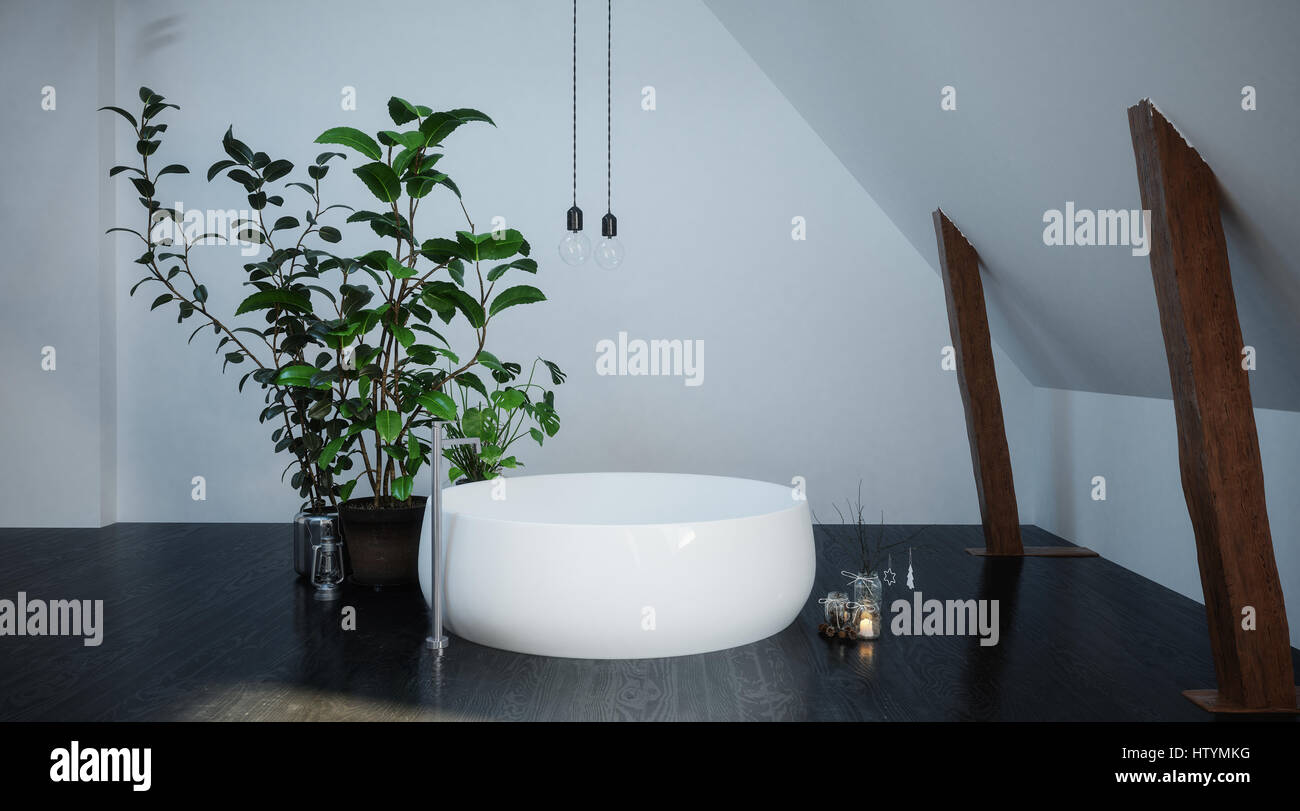 Freestanding circular white bathtub in a small compact bathroom ...