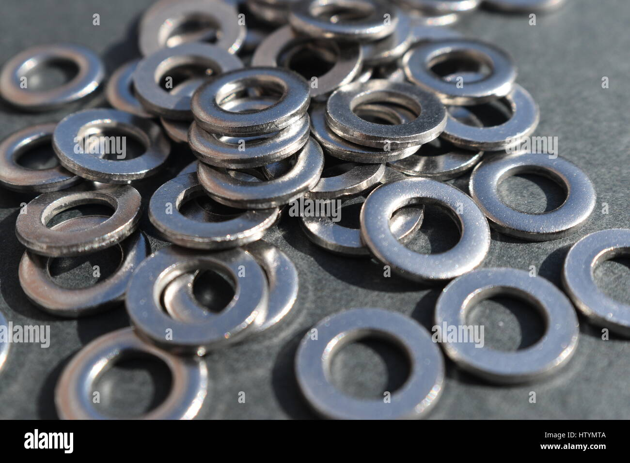 Hardware: stainless steel flat washers - Stock Image