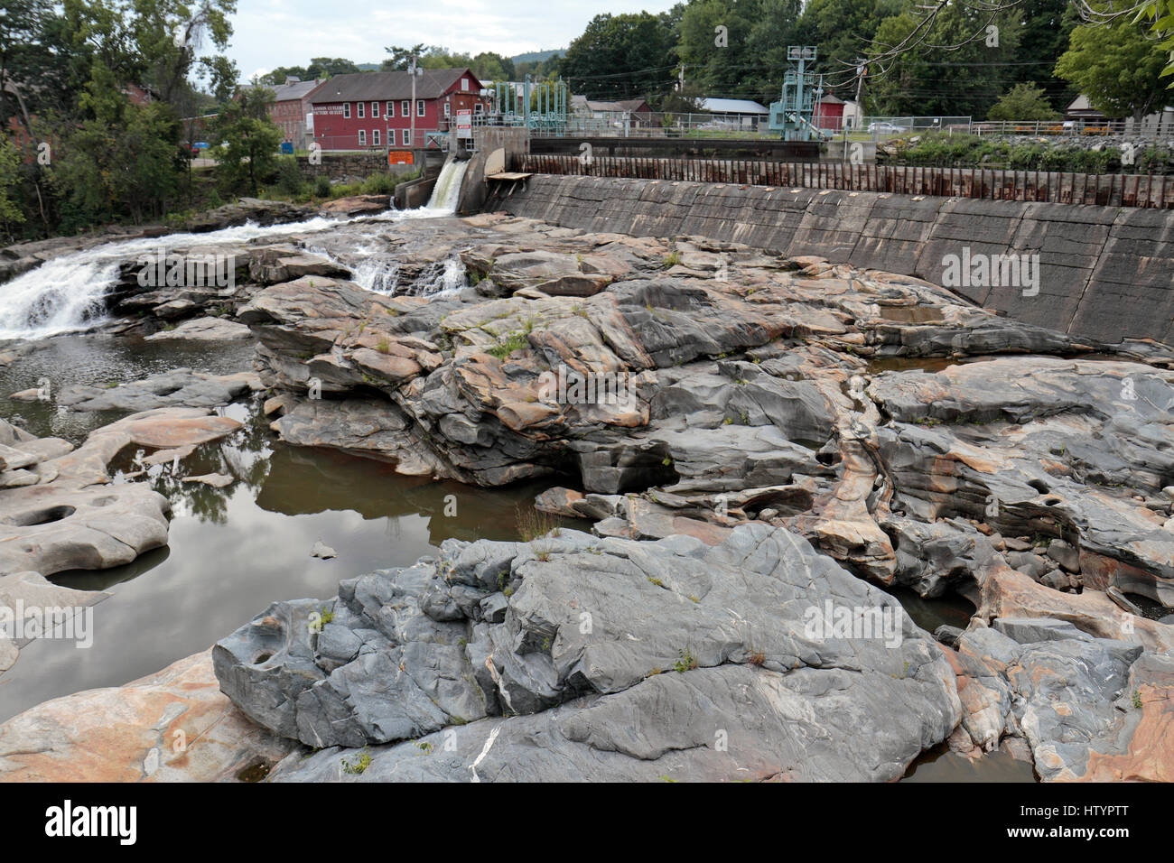 Glacial potholes (a feature of glaciation) on the Deerfield River, Shelburne Falls, Massachusetts. United States. - Stock Image