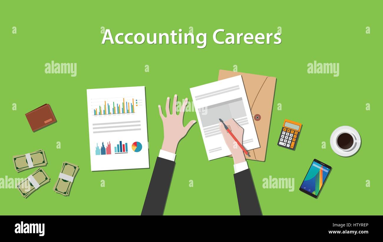 Accounting careers illustration with a man writing on paperwork with money, calculator and folder document on top - Stock Vector