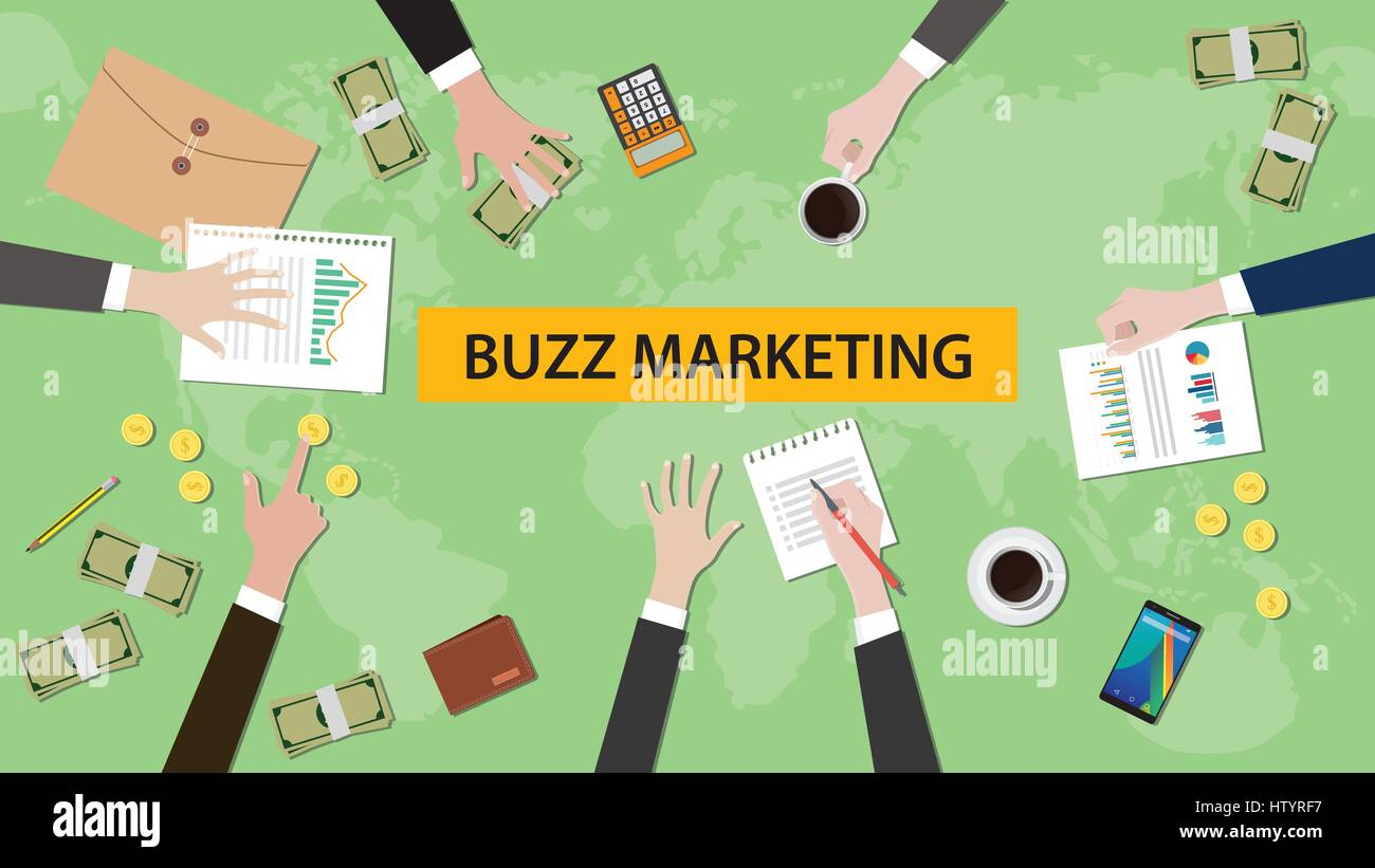 illustration of buzz marketing discussion in a meeting with paperworks, folder document and money on top of table - Stock Image