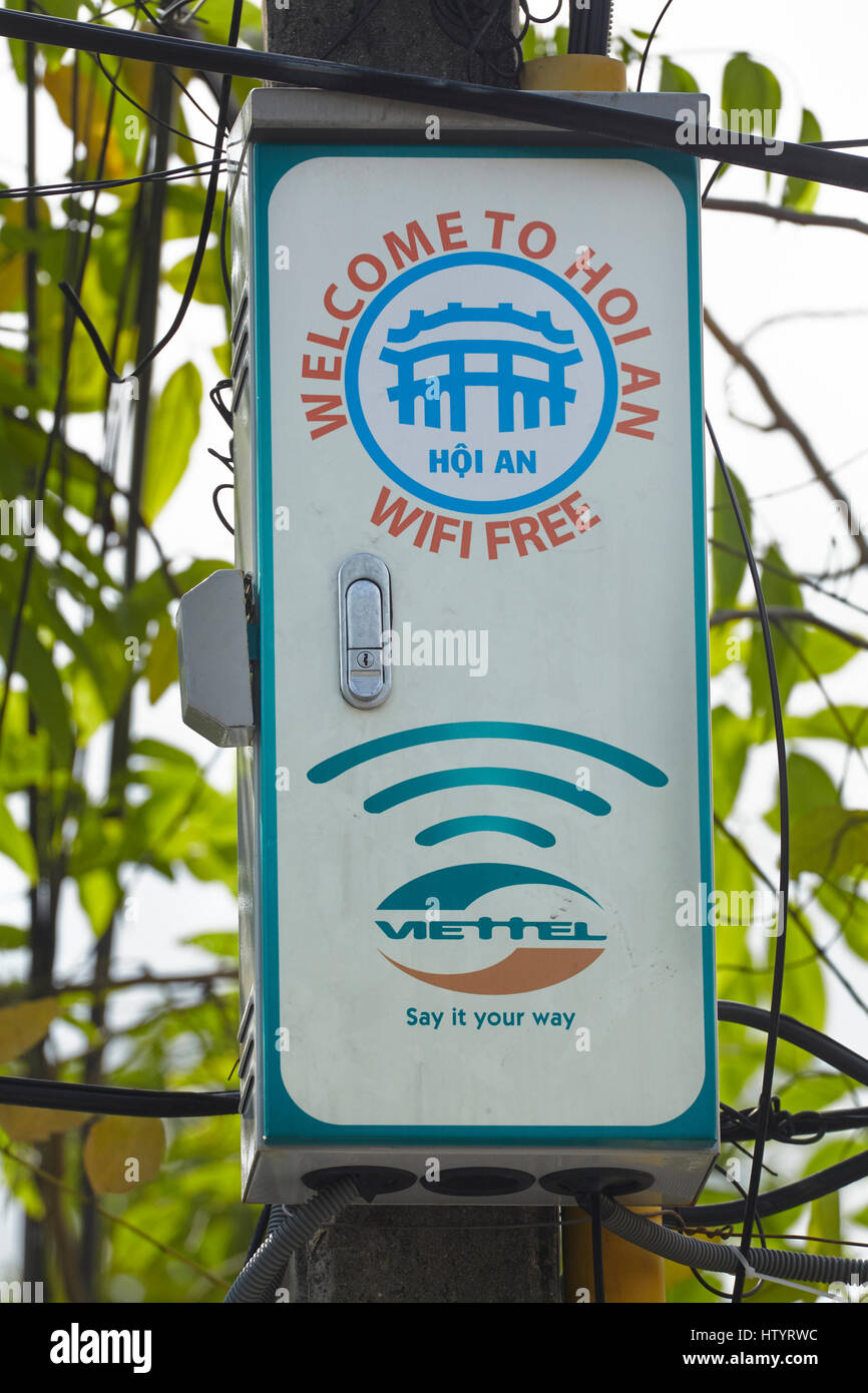 Free wifi sign, Hoi An (UNESCO World Heritage Site), Vietnam - Stock Image