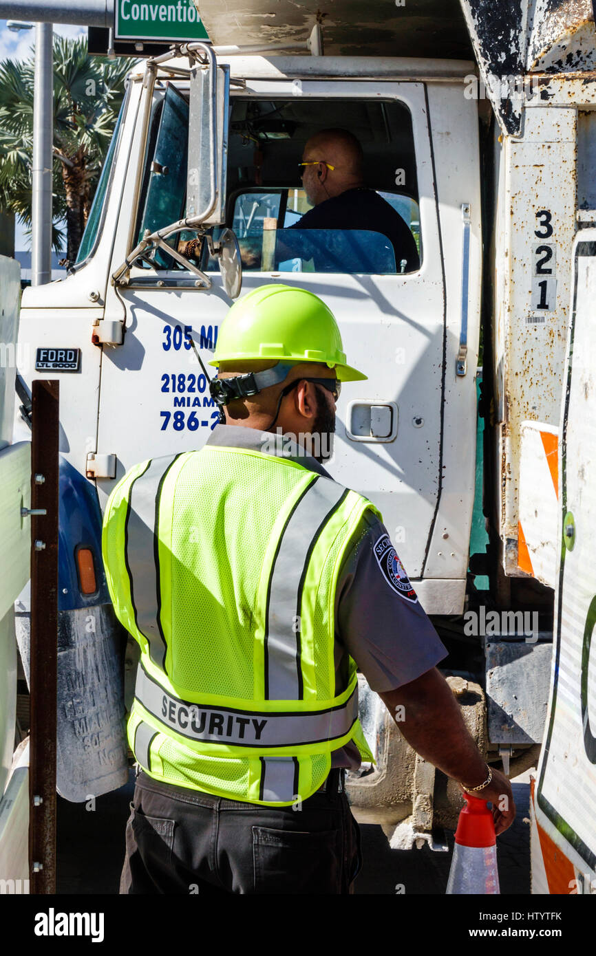 Miami Beach Florida Road Construction Site Truck Man Security Safety