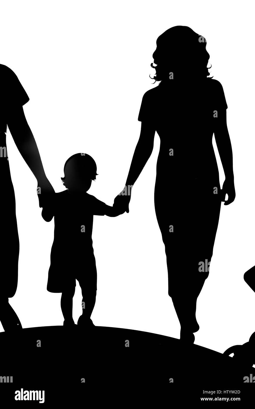 Happy family. Father, mother, son and daughter together. - Stock Image