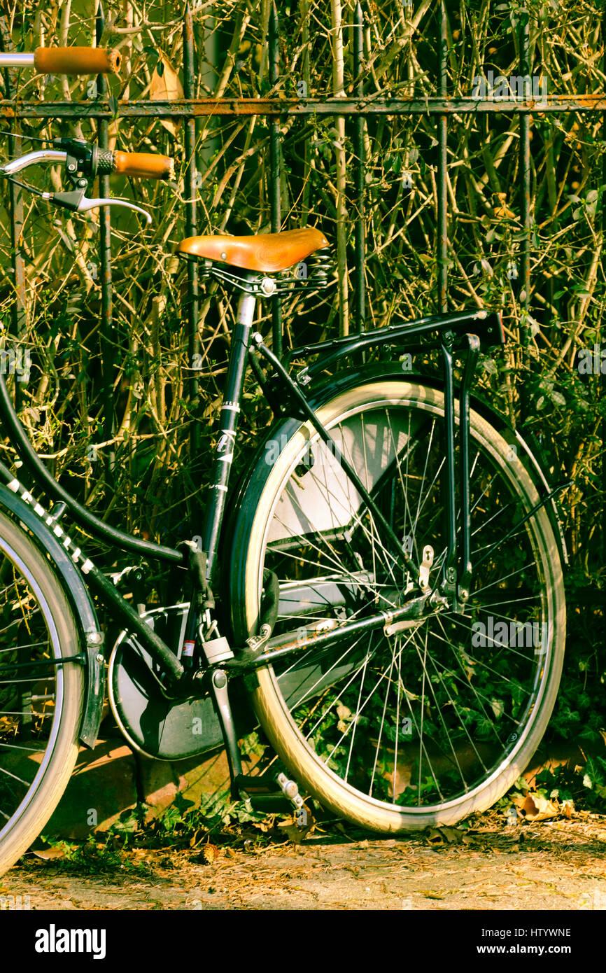 Retro Fahrrad am Zaun Stock Photo