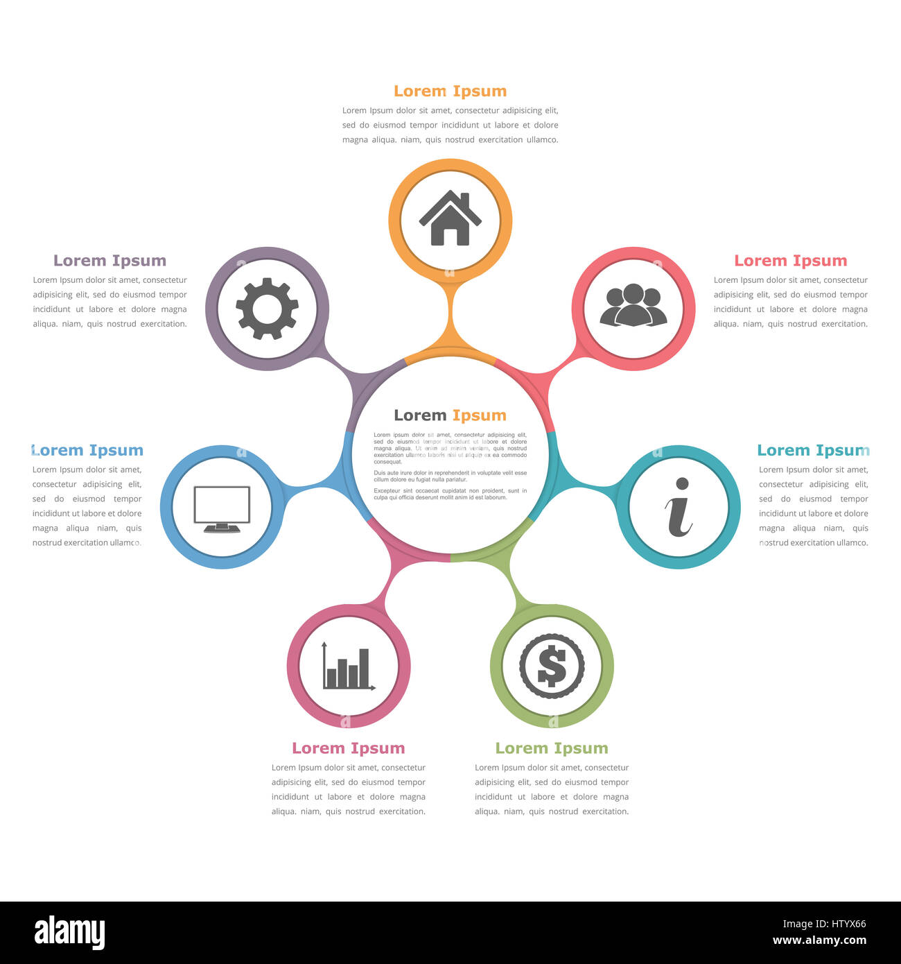 Circle diagram with seven elements with icons and text flow chart circle diagram with seven elements with icons and text flow chart template business infographics ccuart Image collections