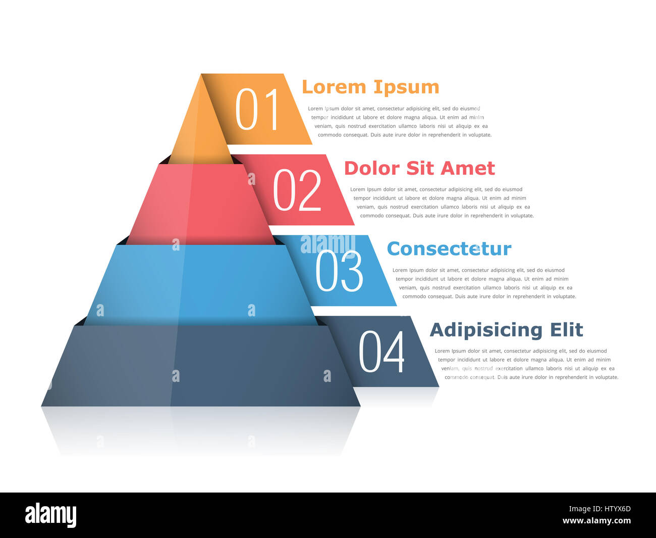 Pyramid chart with four elements with numbers and text, pyramid infographic template - Stock Image