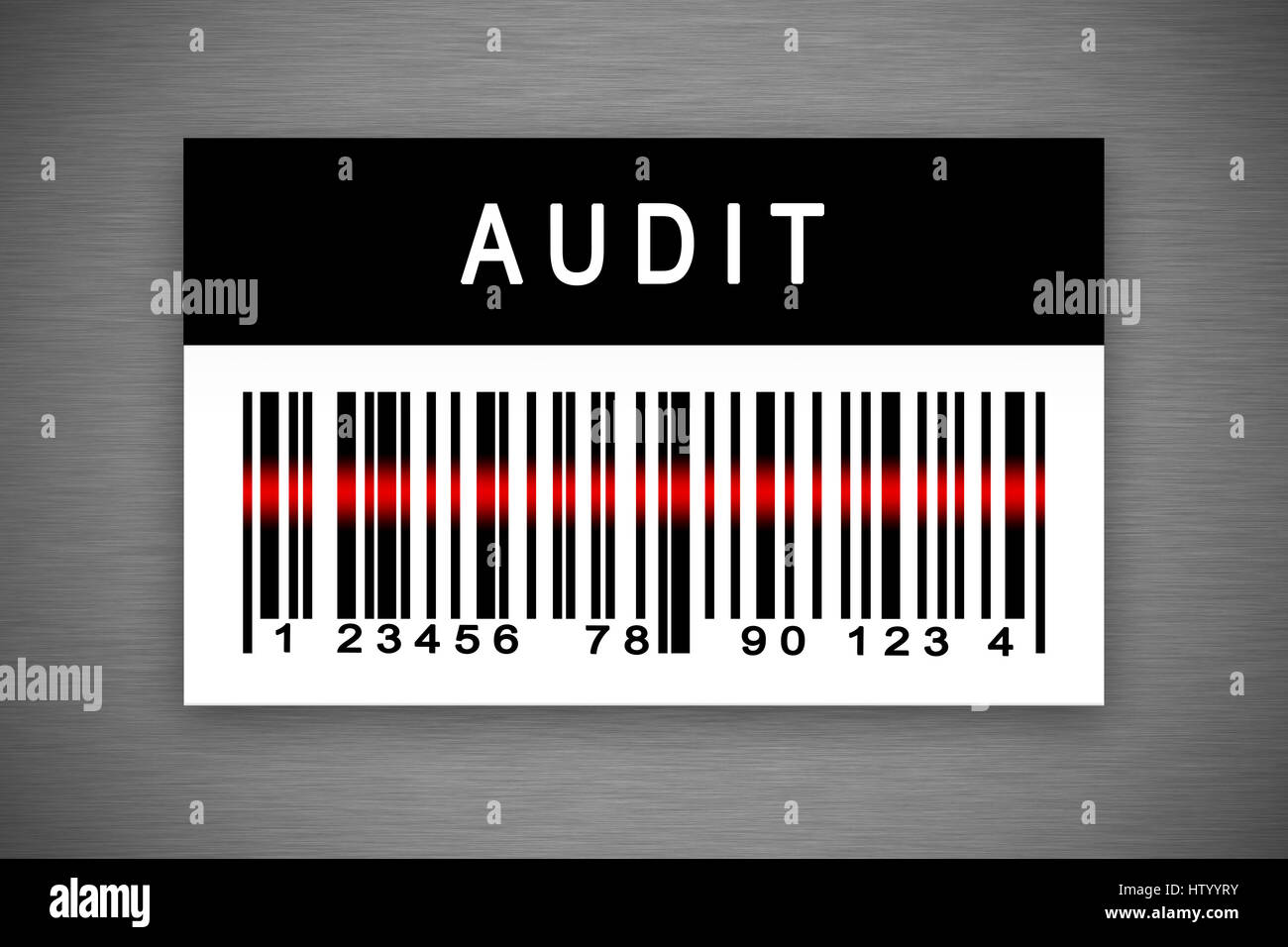 Audit barcode label with shadow on metal background - Stock Image