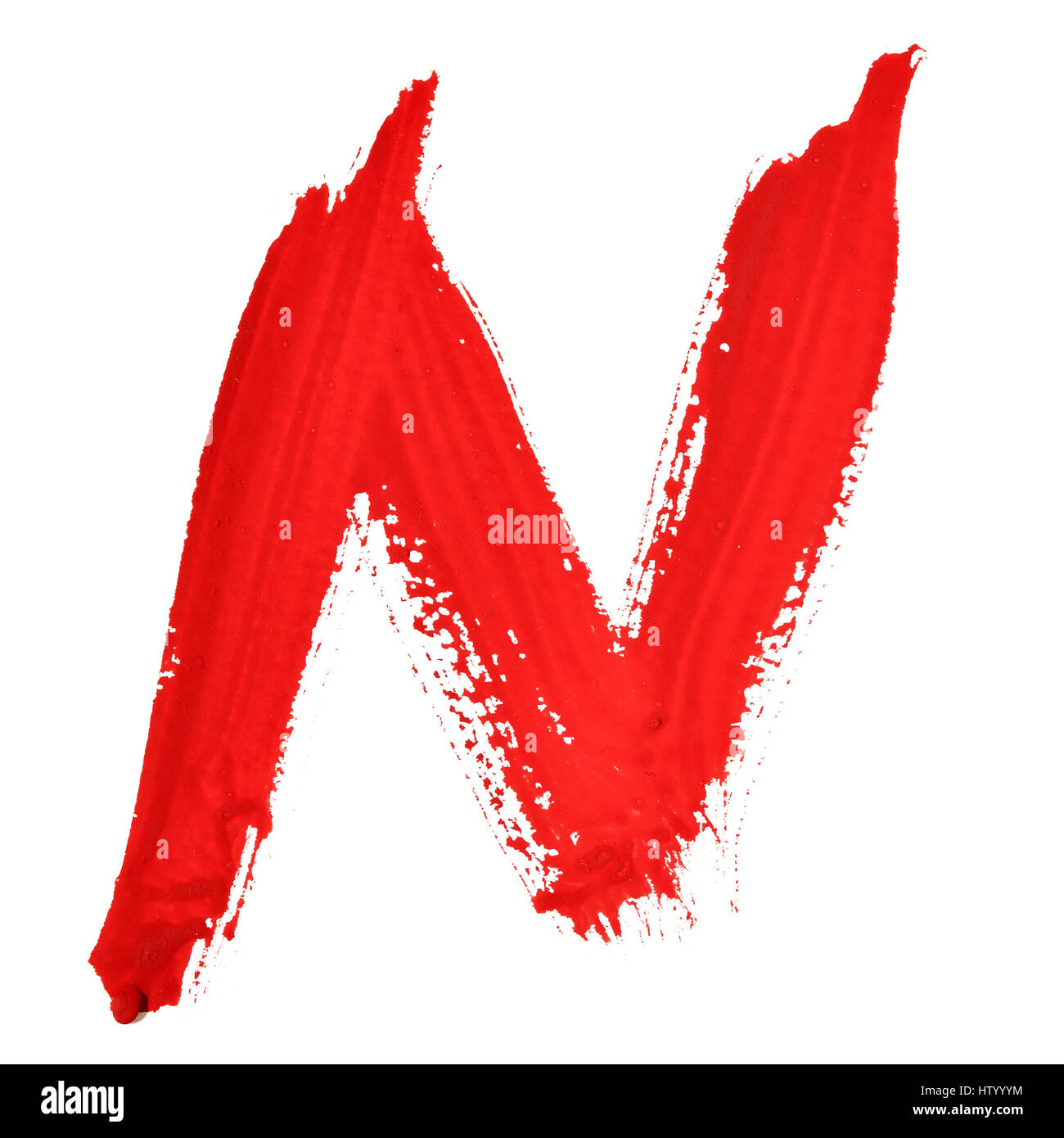 N - Red handwritten letters over white background - Stock Image