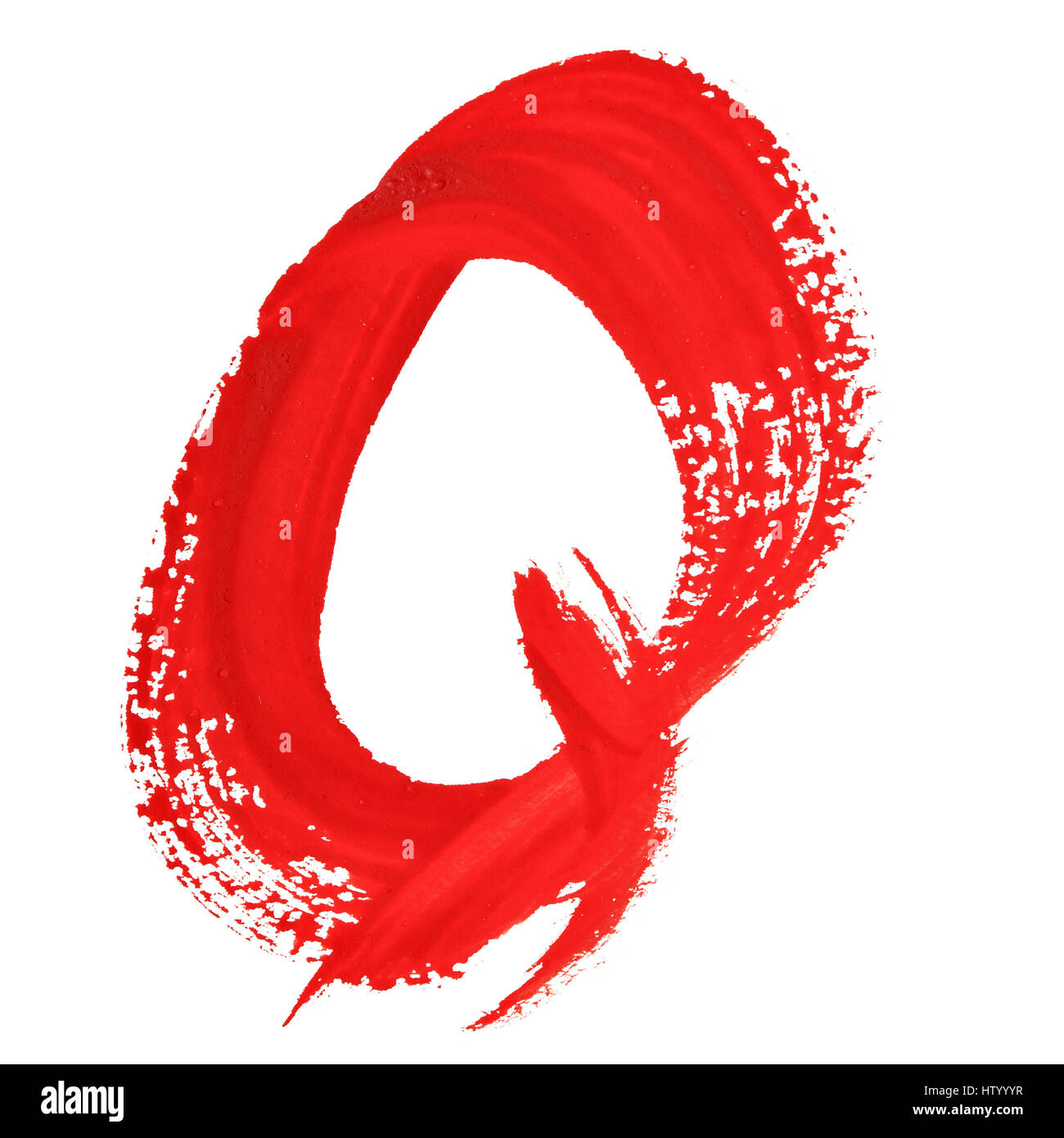 Q - Red handwritten letters over white background - Stock Image