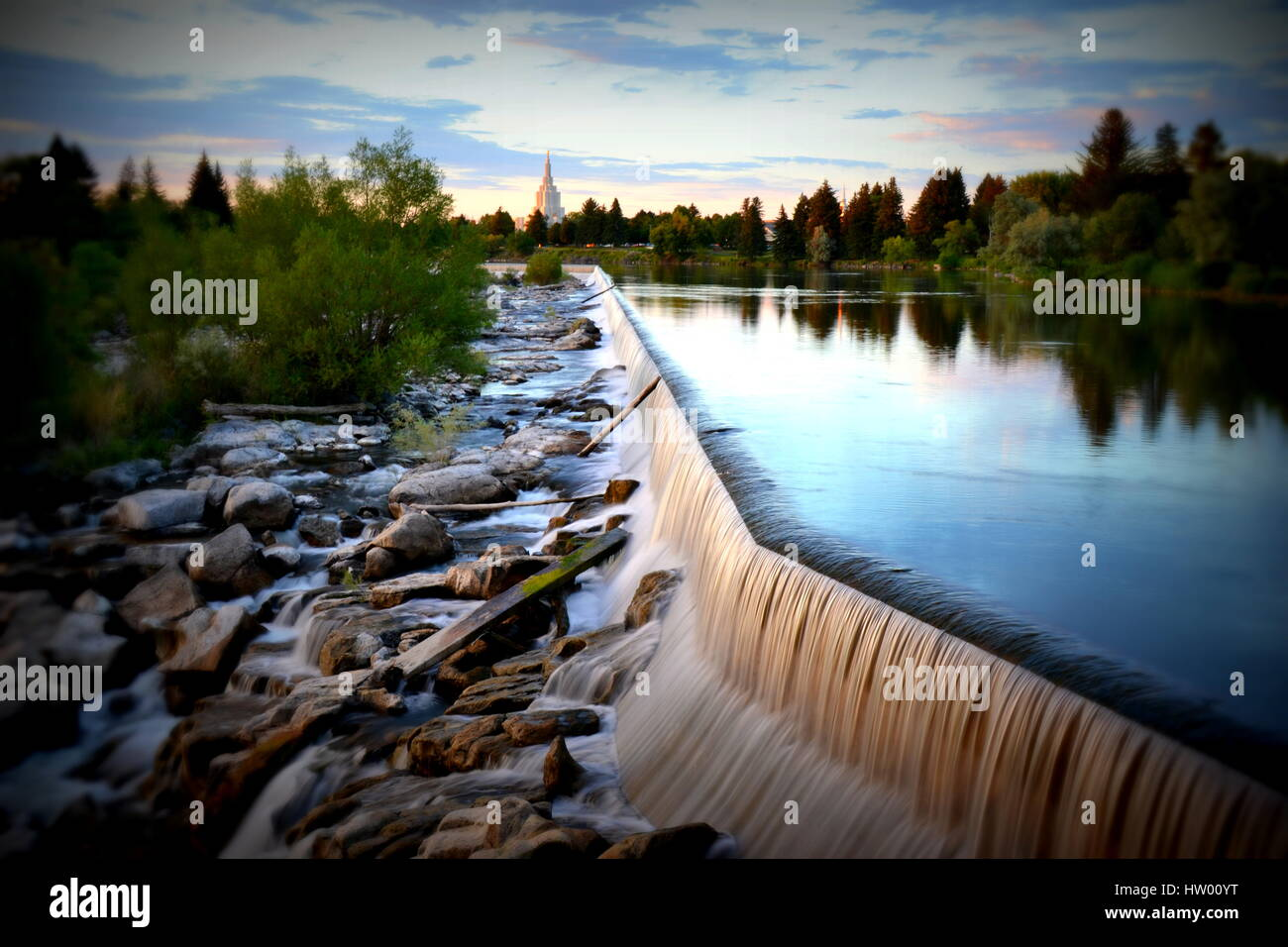 Those are shots of the Idaho falls view in Idaho falls, Idaho. These shots were taking a calm summer night in 2015. Stock Photo