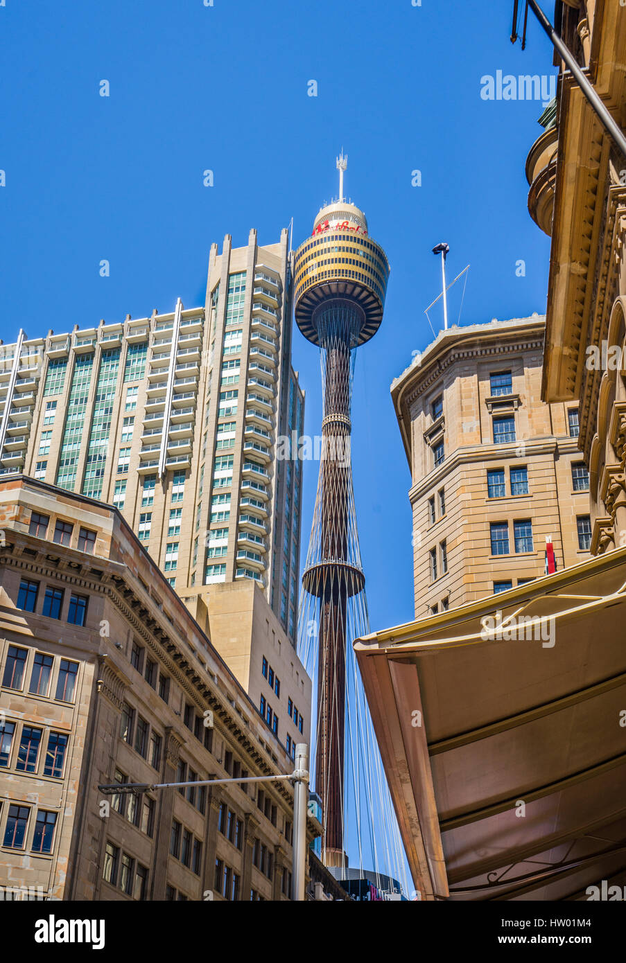 Australia, New South Wales, Sydney, mole's eye view from Market Street with Queen Victoria Building ans Sydney - Stock Image