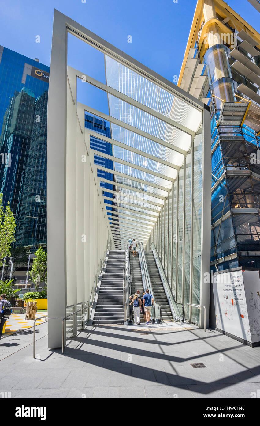 Australia, New South Wales, Sydney, Wynyard Walk Barangaroo exit, pedestrian link of escalators, glassed overpasses - Stock Image
