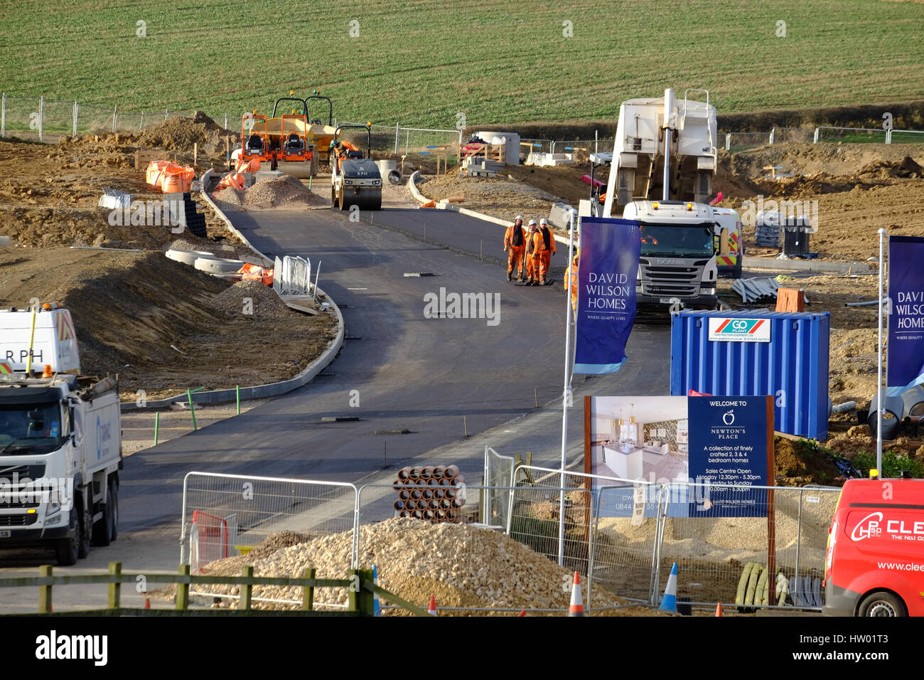 Construction of new road for access to a building site, Grantham, Lincolnshire, England, UK. - Stock Image