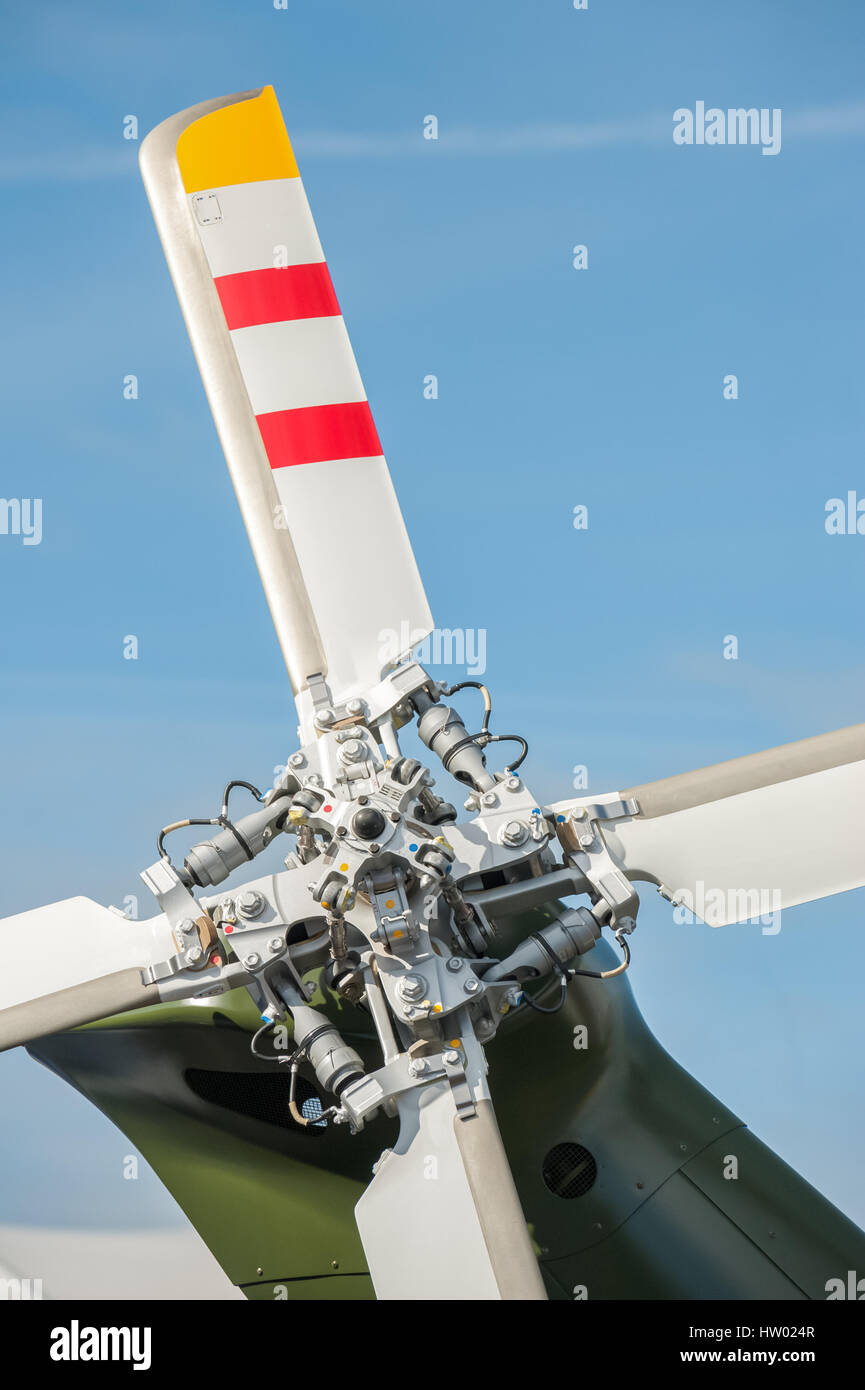 close-up of helicopter tail rotor blades - Stock Image